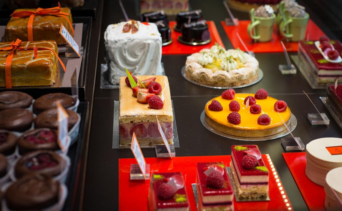 Pasteries in the window of Arnaud Larher's shop in Paris.